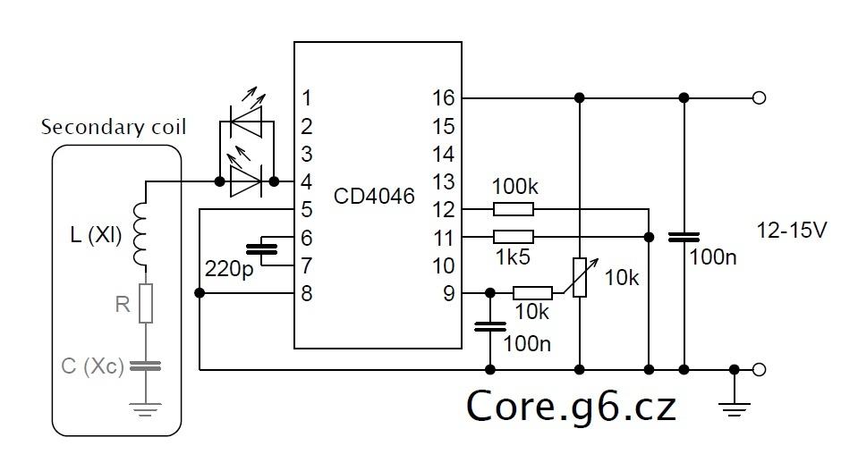 Měření rezonanční frekvence sekundáru TC - schéma