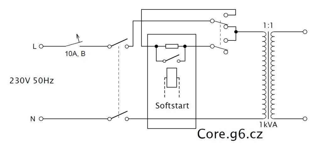 Zdroj s oddělovacím transformátorem - schéma